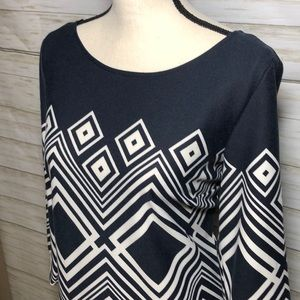 Taylor Navy and White Geometric Shift Dress